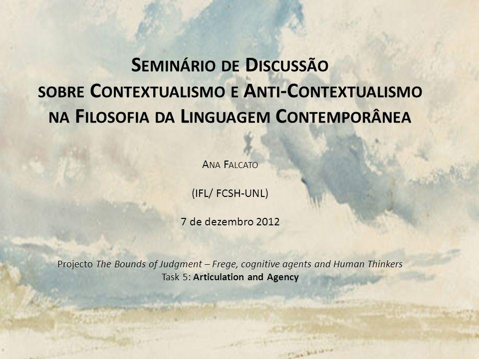 Seminário de Discussão sobre Contextualismo e Anti-Contextualismo