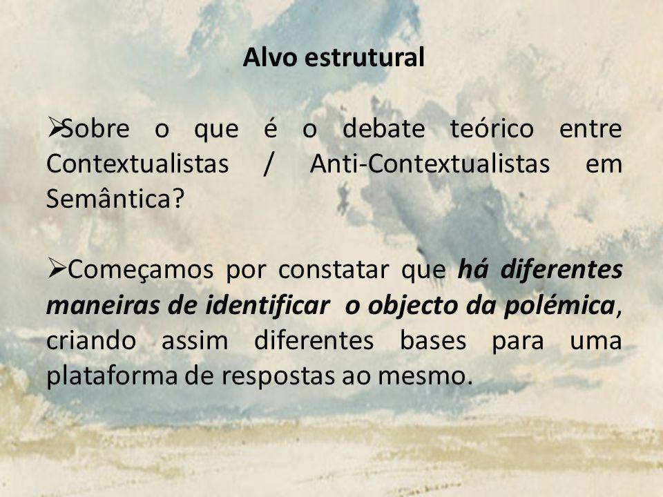 Alvo estrutural Sobre o que é o debate teórico entre Contextualistas / Anti-Contextualistas em Semântica