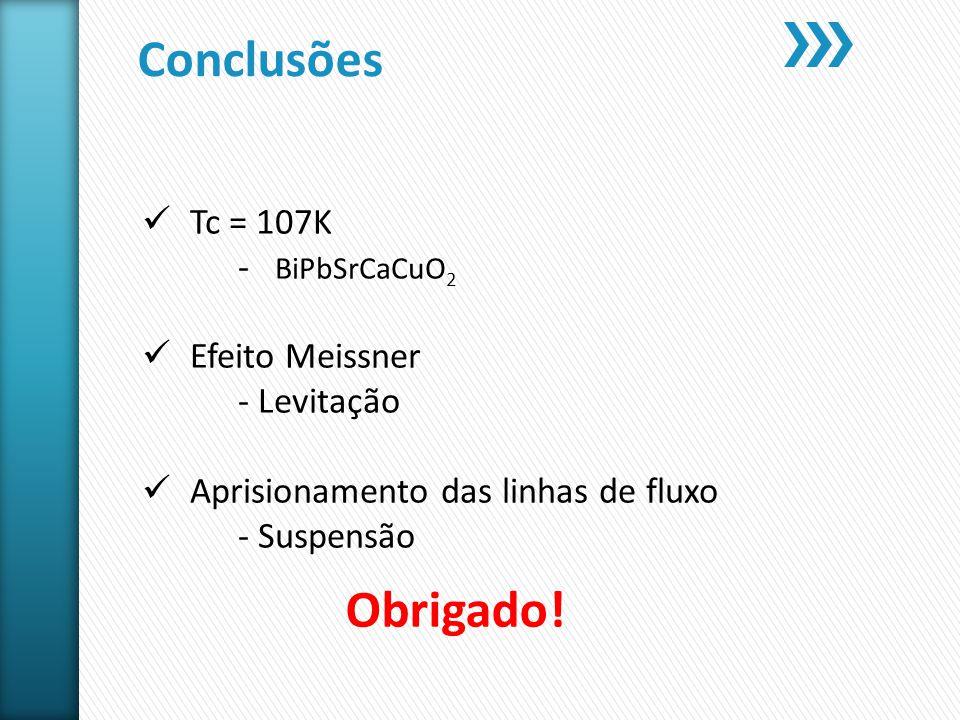 Conclusões Obrigado! Tc = 107K - BiPbSrCaCuO2 Efeito Meissner