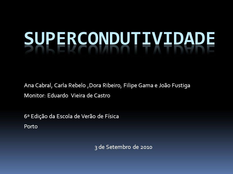 SUpercondutividade Ana Cabral, Carla Rebelo ,Dora Ribeiro, Filipe Gama e João Fustiga. Monitor: Eduardo Vieira de Castro.