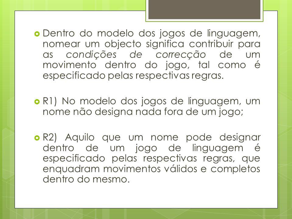 Dentro do modelo dos jogos de linguagem, nomear um objecto significa contribuir para as condições de correcção de um movimento dentro do jogo, tal como é especificado pelas respectivas regras.