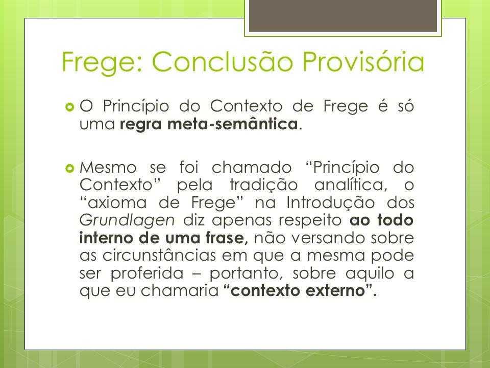 Frege: Conclusão Provisória