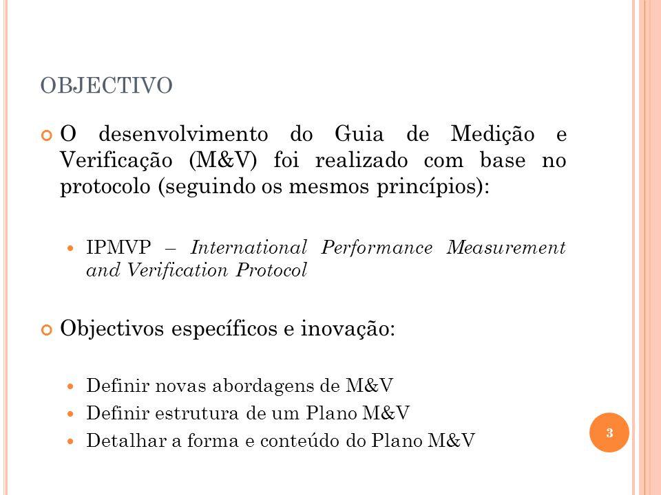 objectivo O desenvolvimento do Guia de Medição e Verificação (M&V) foi realizado com base no protocolo (seguindo os mesmos princípios):