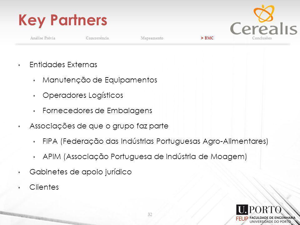 Key Partners Entidades Externas Manutenção de Equipamentos