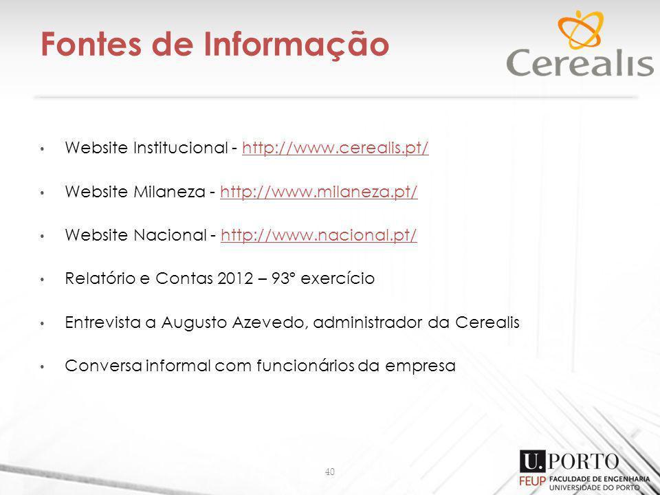 Fontes de Informação Website Institucional - http://www.cerealis.pt/