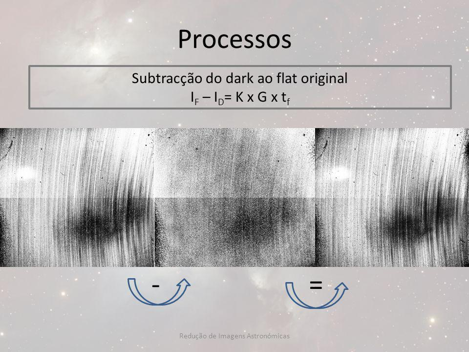 Processos - = Subtracção do dark ao flat original IF – ID= K x G x tf