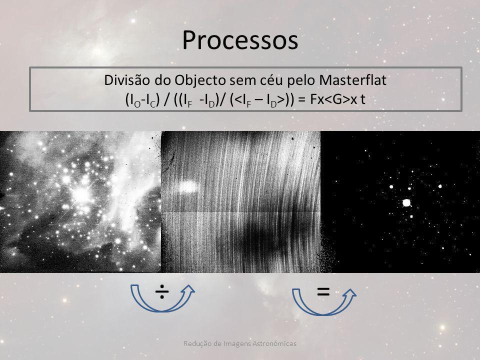 Processos ÷ = Divisão do Objecto sem céu pelo Masterflat