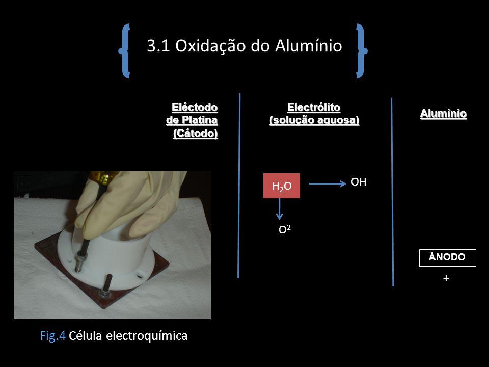 3.1 Oxidação do Alumínio Fig.4 Célula electroquímica OH- H2O O2- +