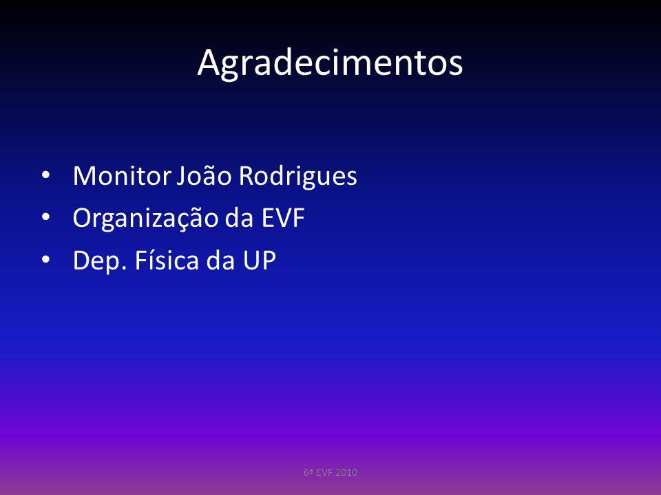 Agradecimentos Monitor João Rodrigues Organização da EVF