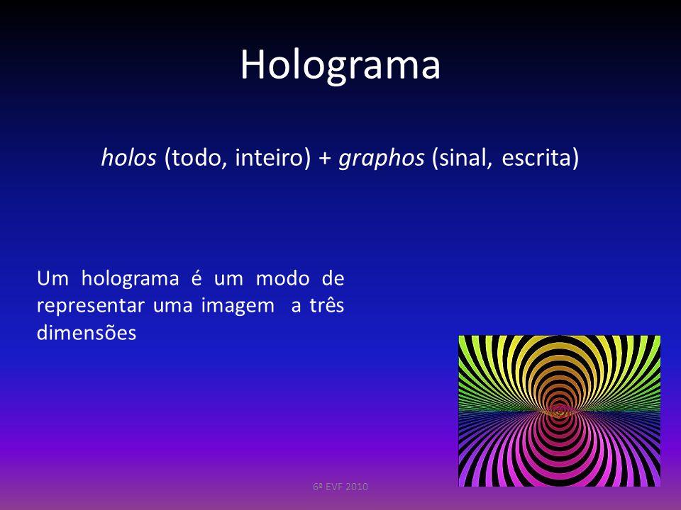 Holograma holos (todo, inteiro) + graphos (sinal, escrita)