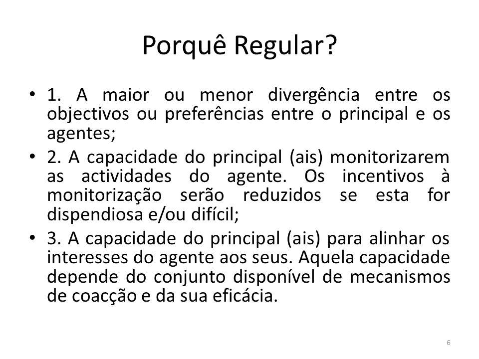 Porquê Regular 1. A maior ou menor divergência entre os objectivos ou preferências entre o principal e os agentes;