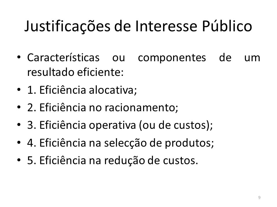 Justificações de Interesse Público