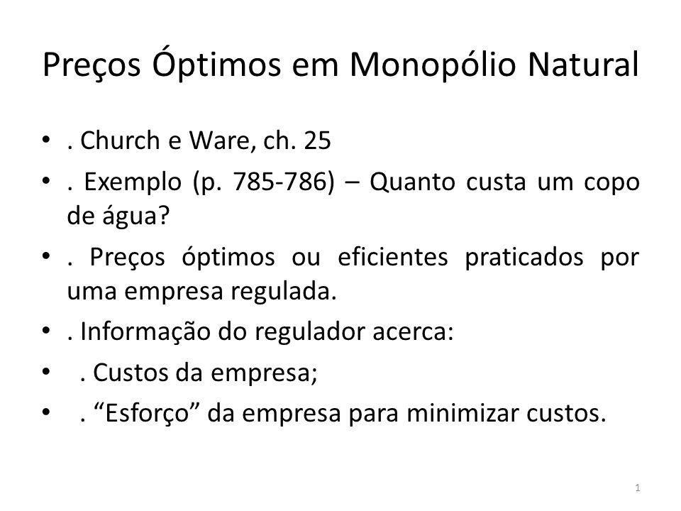 Preços Óptimos em Monopólio Natural