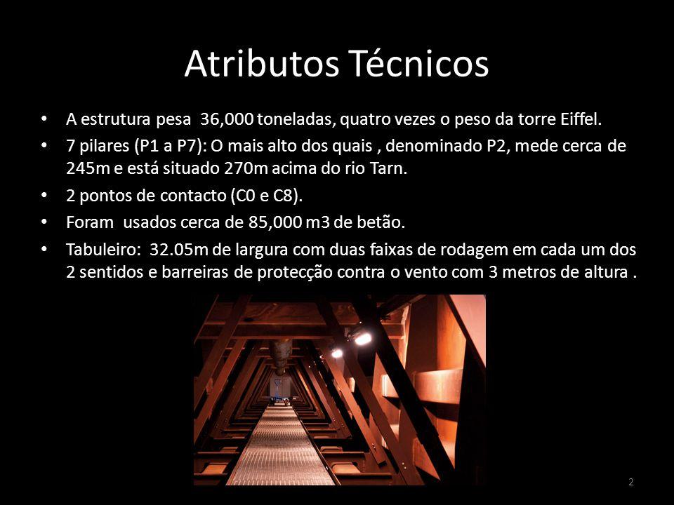 Atributos Técnicos A estrutura pesa 36,000 toneladas, quatro vezes o peso da torre Eiffel.