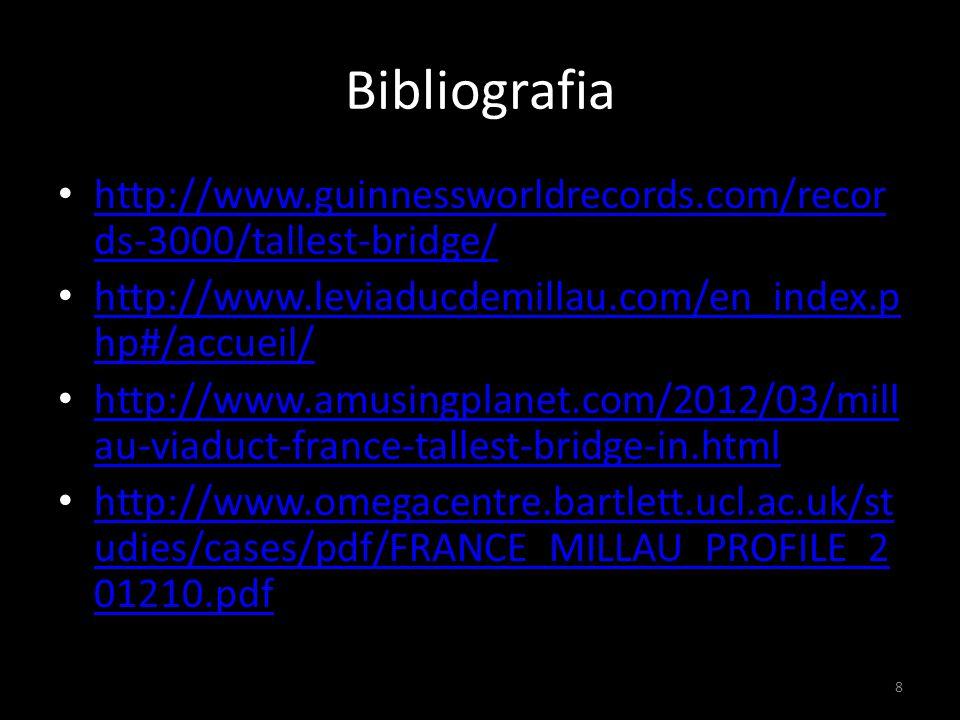 Bibliografia http://www.guinnessworldrecords.com/records-3000/tallest-bridge/ http://www.leviaducdemillau.com/en_index.php#/accueil/