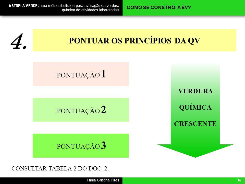 PONTUAR OS PRINCÍPIOS DA QV VERDURA QUÍMICA CRESCENTE