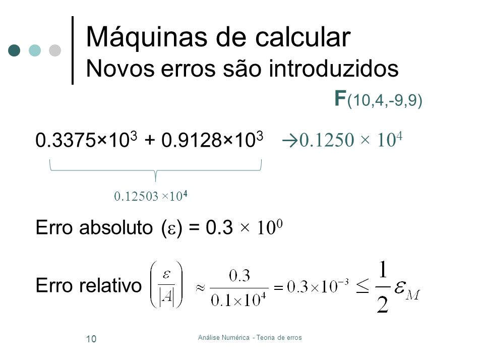 Máquinas de calcular Novos erros são introduzidos
