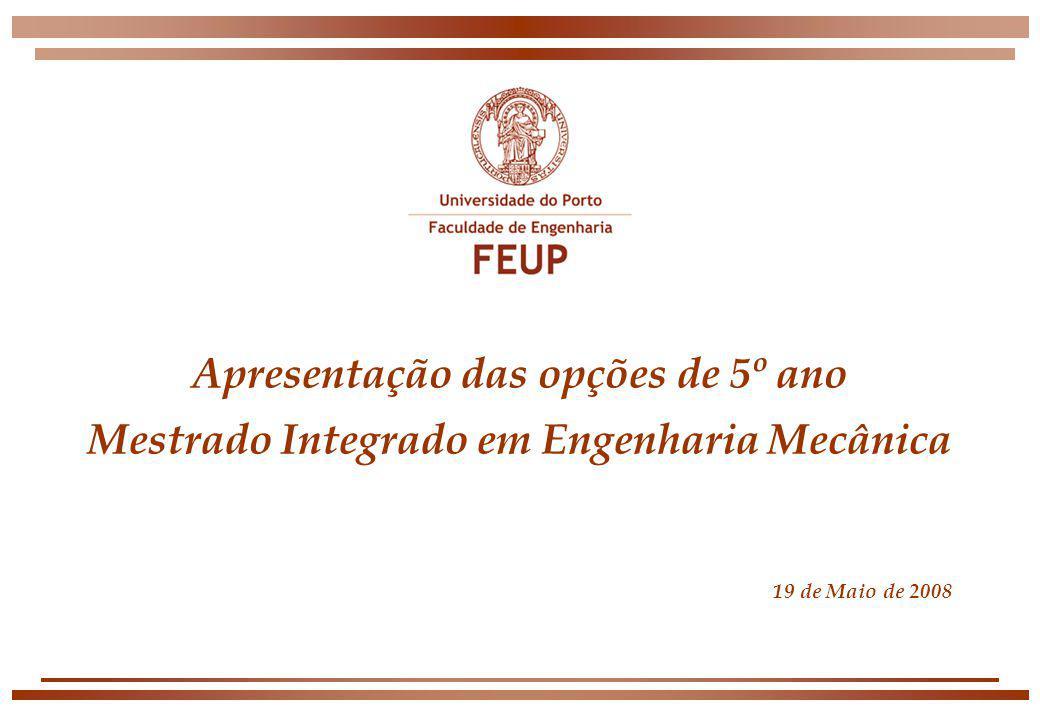 Apresentação das opções de 5º ano Mestrado Integrado em Engenharia Mecânica