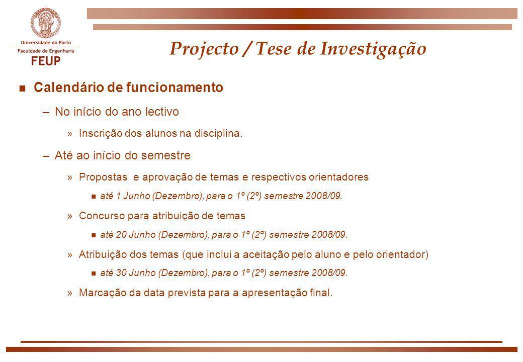 Projecto / Tese de Investigação