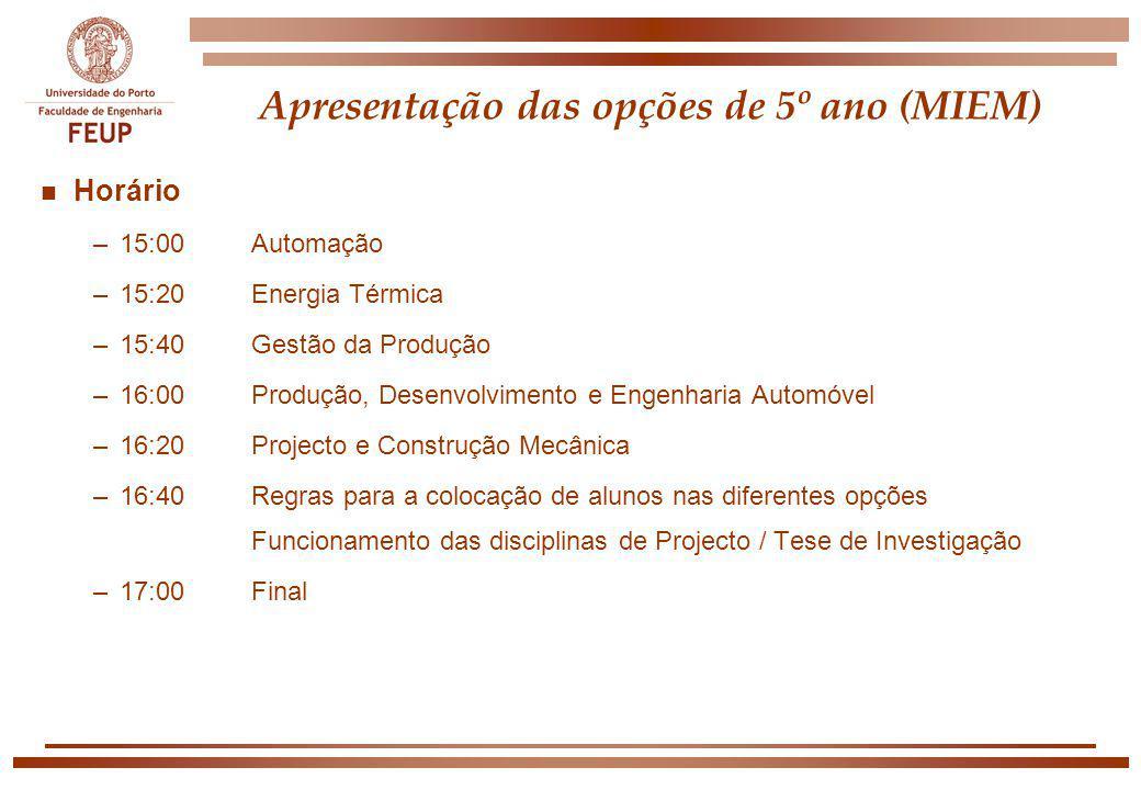 Apresentação das opções de 5º ano (MIEM)