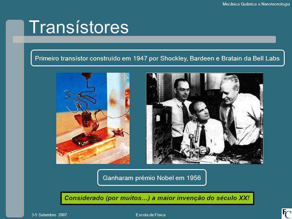 Transístores Primeiro transístor construído em 1947 por Shockley, Bardeen e Bratain da Bell Labs. Ganharam prémio Nobel em 1956.
