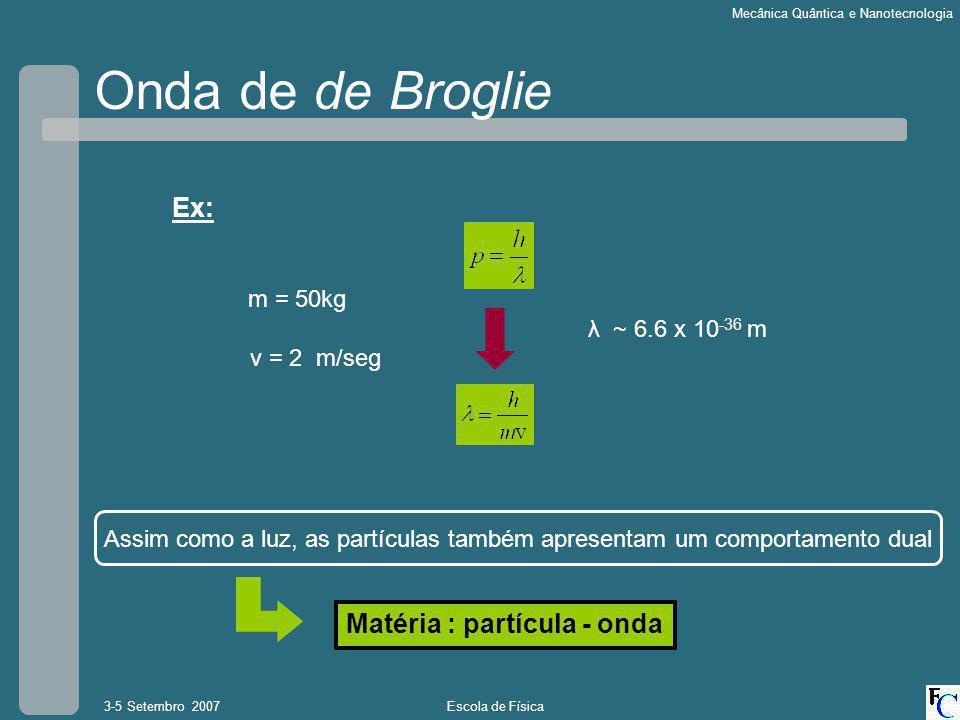 Onda de de Broglie Ex: Matéria : partícula - onda m = 50kg