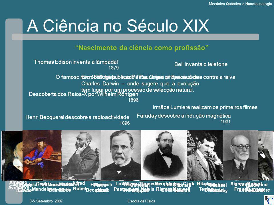 A Ciência no Século XIX Nascimento da ciência como profissão