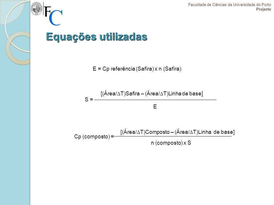Equações utilizadas E = Cp referência (Safira) x n (Safira)