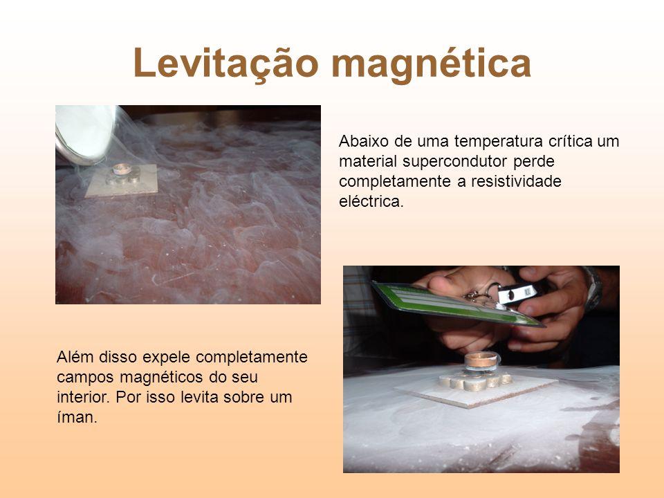 Levitação magnética Abaixo de uma temperatura crítica um material supercondutor perde completamente a resistividade eléctrica.