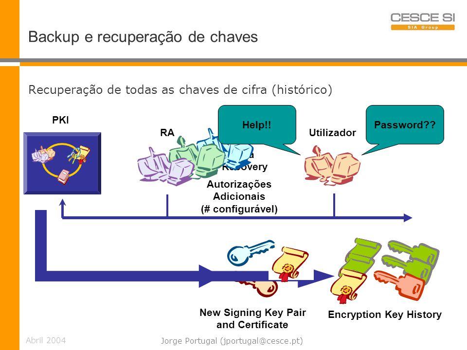Backup e recuperação de chaves