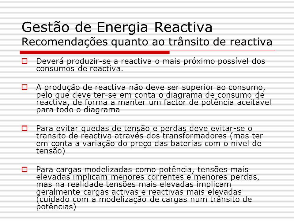 Gestão de Energia Reactiva Recomendações quanto ao trânsito de reactiva