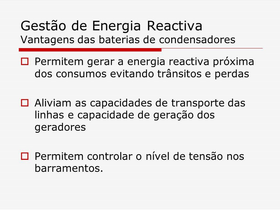 Gestão de Energia Reactiva Vantagens das baterias de condensadores
