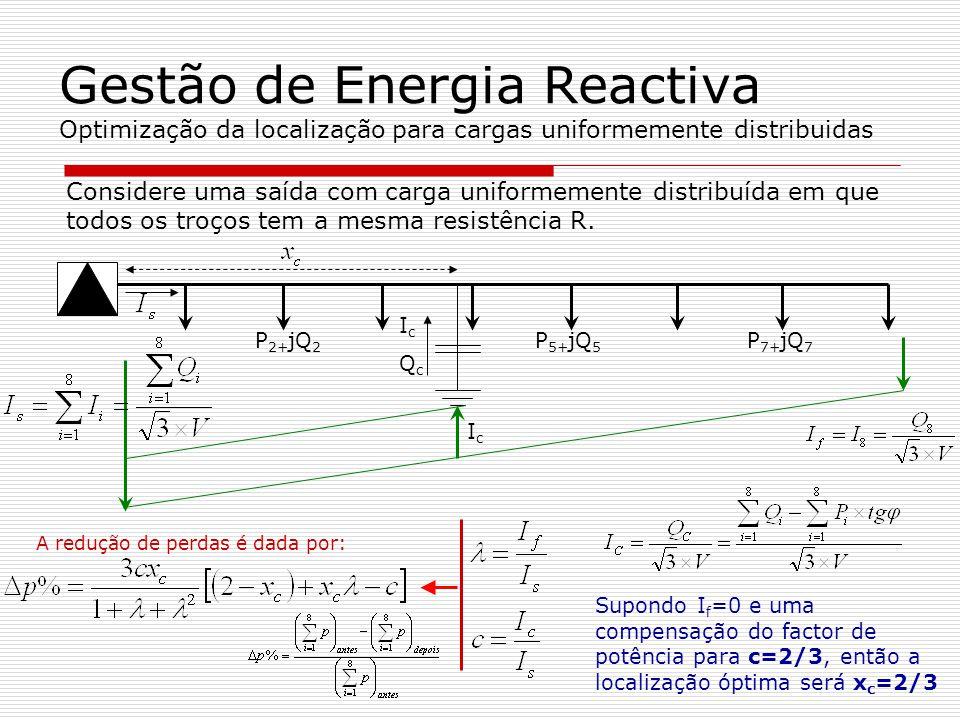 Gestão de Energia Reactiva Optimização da localização para cargas uniformemente distribuidas