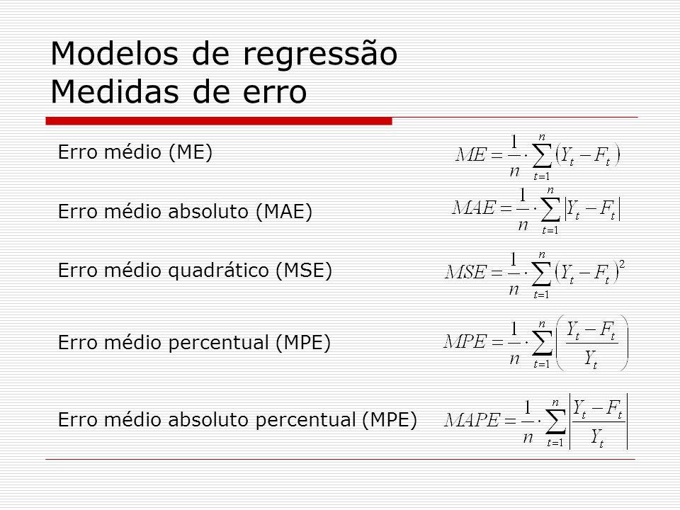 Modelos de regressão Medidas de erro