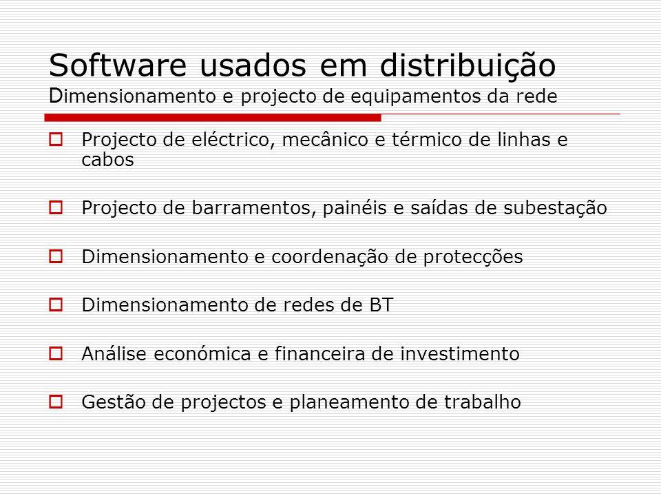 Software usados em distribuição Dimensionamento e projecto de equipamentos da rede