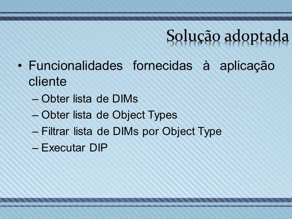 Solução adoptada Funcionalidades fornecidas à aplicação cliente