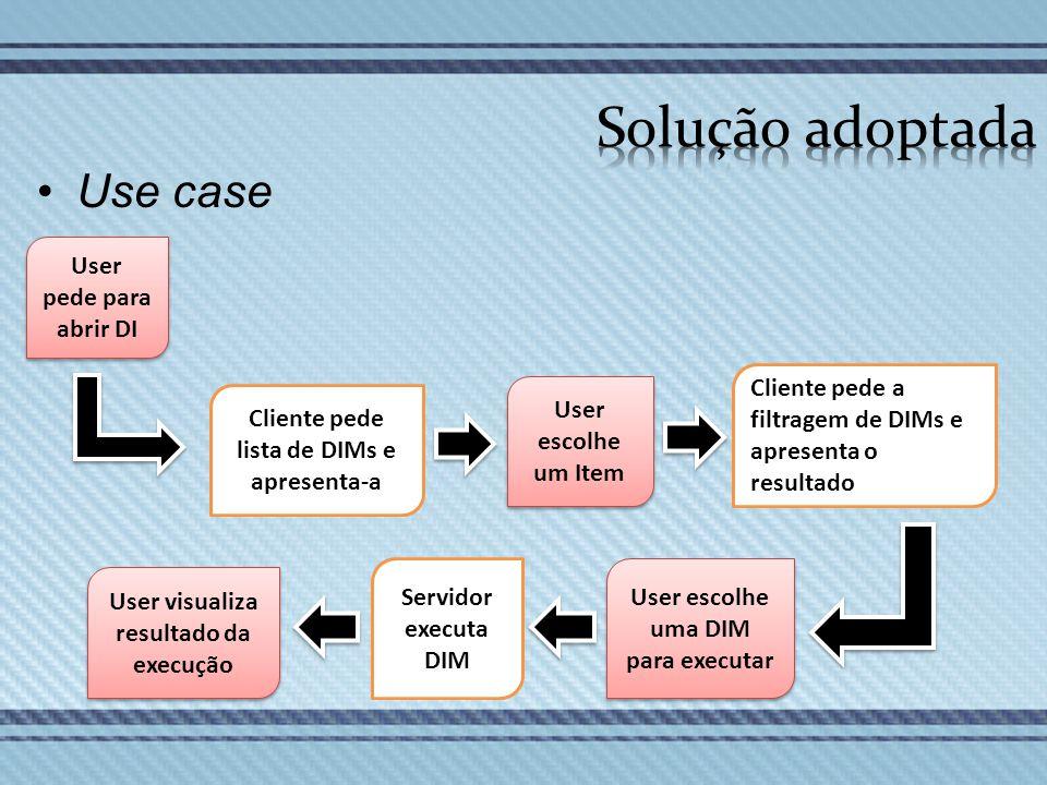 Solução adoptada Use case User pede para abrir DI