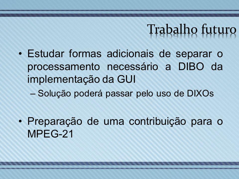 Trabalho futuro Estudar formas adicionais de separar o processamento necessário a DIBO da implementação da GUI.