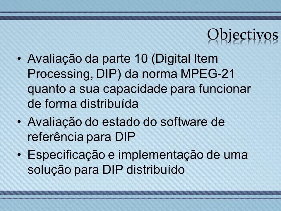 Objectivos Avaliação da parte 10 (Digital Item Processing, DIP) da norma MPEG-21 quanto a sua capacidade para funcionar de forma distribuída.