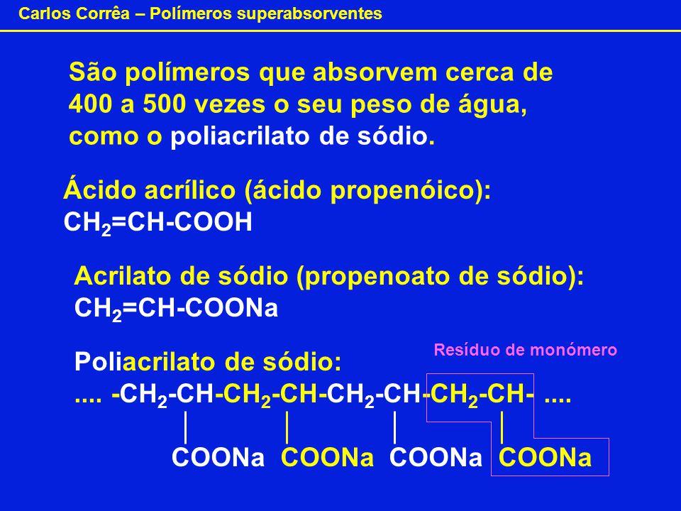 Ácido acrílico (ácido propenóico): CH2=CH-COOH