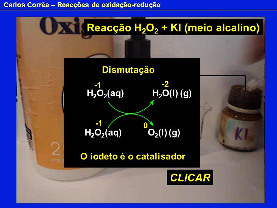 Reacção H2O2 + KI (meio alcalino)