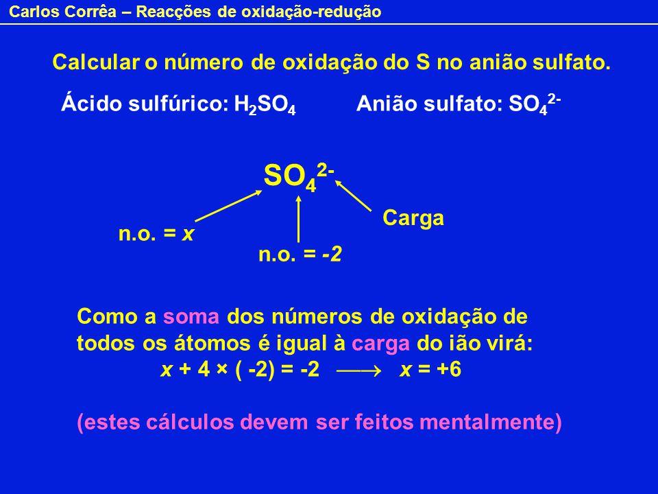 Calcular o número de oxidação do S no anião sulfato.