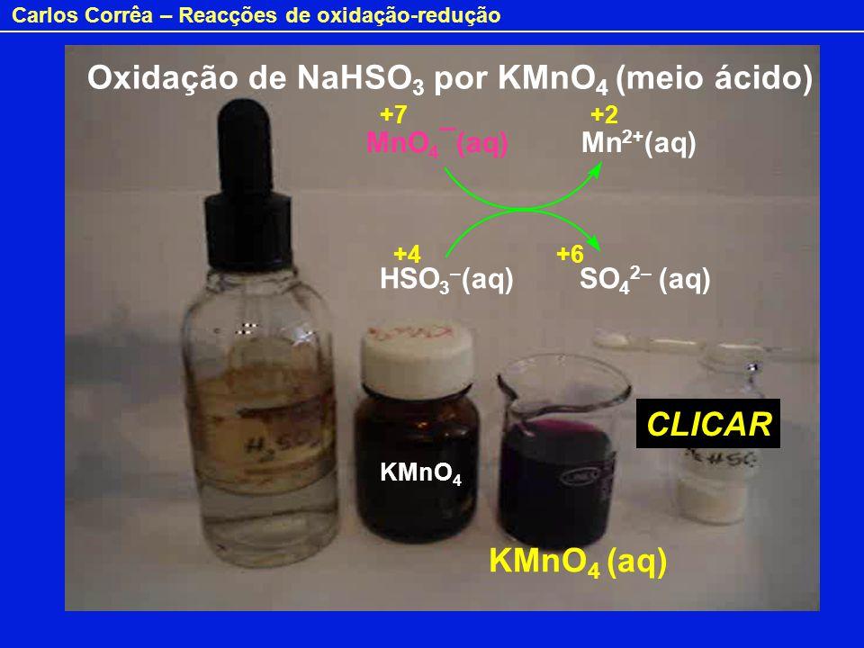 Oxidação de NaHSO3 por KMnO4 (meio ácido)