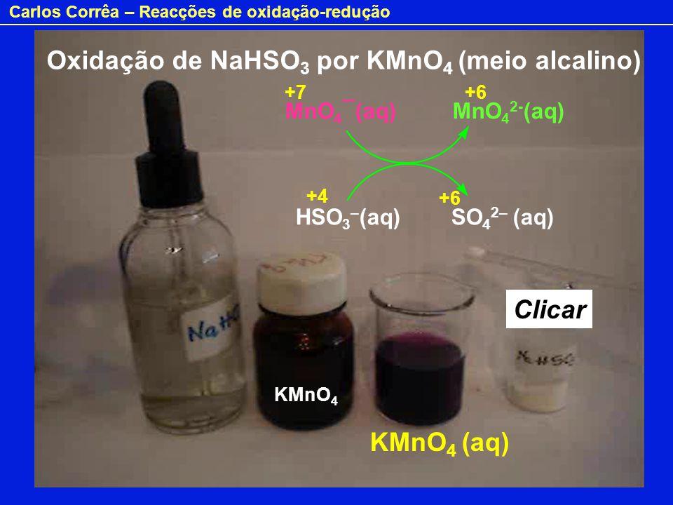 Oxidação de NaHSO3 por KMnO4 (meio alcalino)