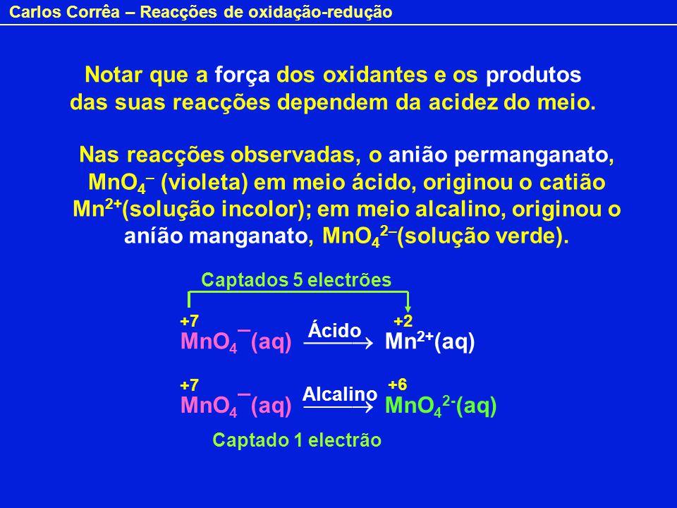 Notar que a força dos oxidantes e os produtos das suas reacções dependem da acidez do meio.