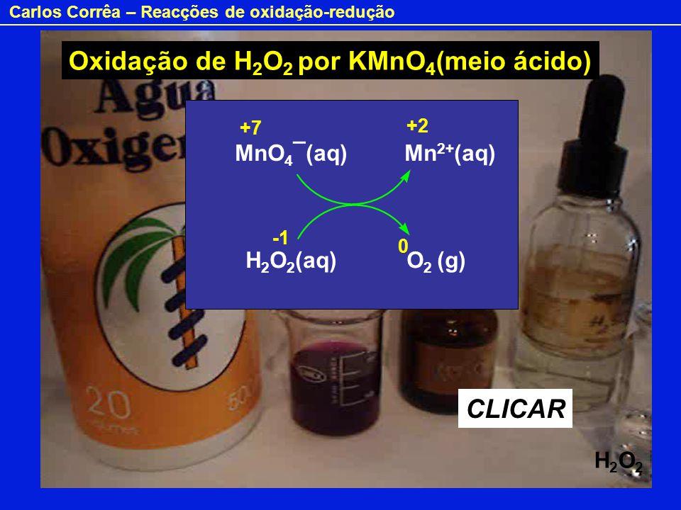 Oxidação de H2O2 por KMnO4(meio ácido)