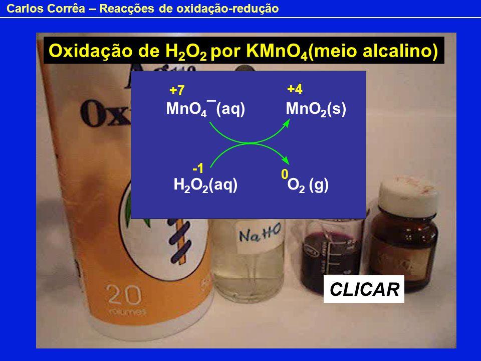 Oxidação de H2O2 por KMnO4(meio alcalino)