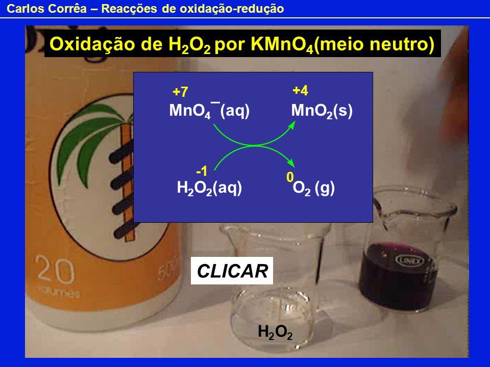 Oxidação de H2O2 por KMnO4(meio neutro)