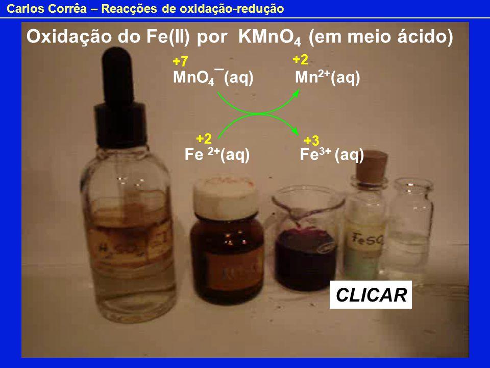 Oxidação do Fe(II) por KMnO4 (em meio ácido)