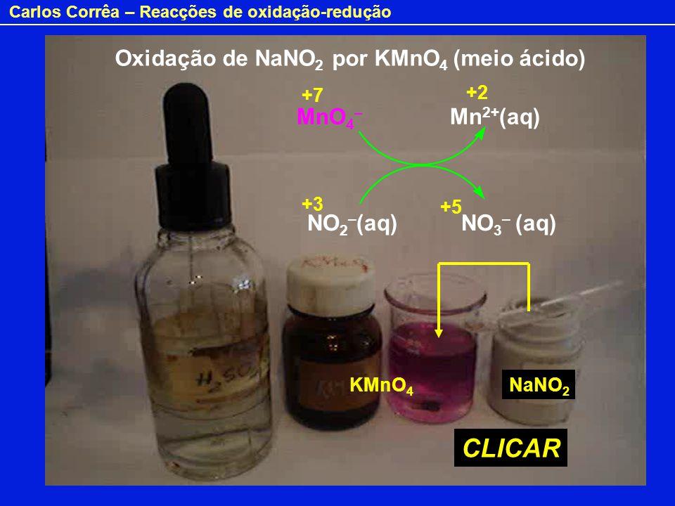 Oxidação de NaNO2 por KMnO4 (meio ácido)